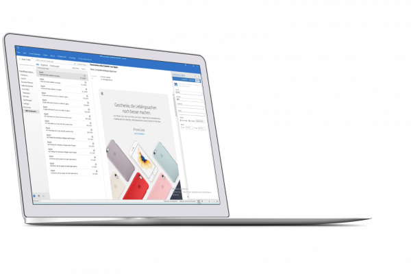 VISIONICE Mailarchiv Outlook Addin Screenshot
